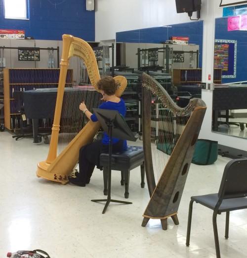 Choir talks careers with harpist