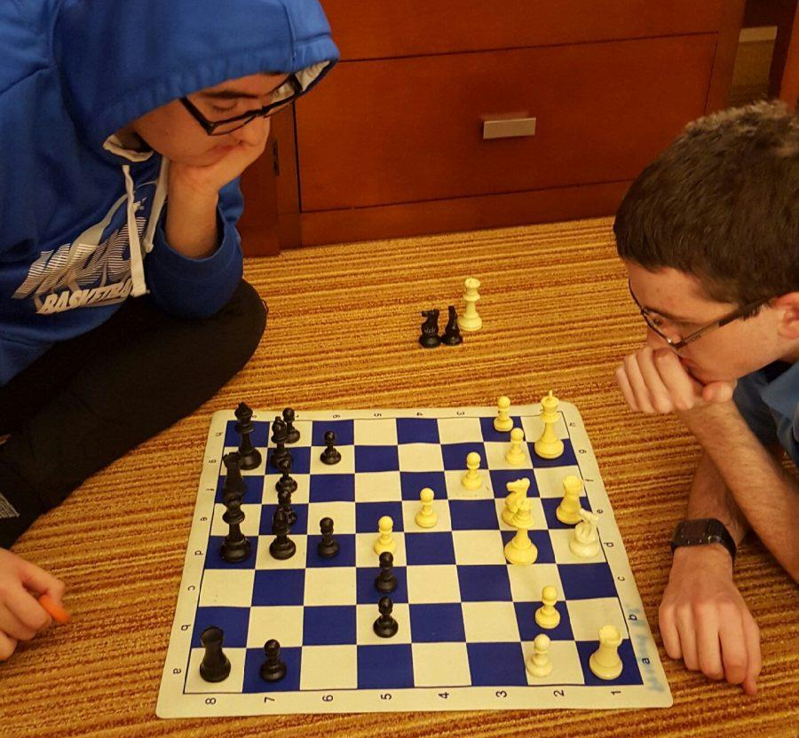 Checkmate%3A+Seniors+Billy+Doherty+and+Eulises+Campos+prepare+together+in+anticipation+for+the+state+tournament+starting+on+Feb.+12.+Doherty+and+Campos+helped+the+chess+team+place+third+in+the+MSL%2C+securing+a+spot+at+state.+%28Photo+courtesy+of+Billy+Doherty%29