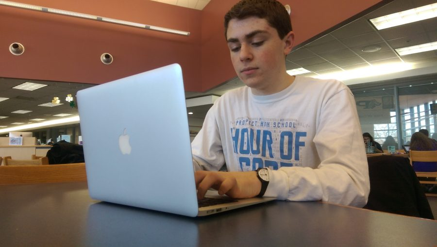 Junior Jimmy McDermott has received both local and national recognition for his coding talent and his school spirit app, The Underground. (photo illustration by Krzys Chwala)