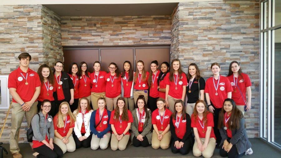 The+FCCLA+team+poses+after+taking+first+overall+in+state.++The+team+heads+to+compete+in+nationals+July+3-9.