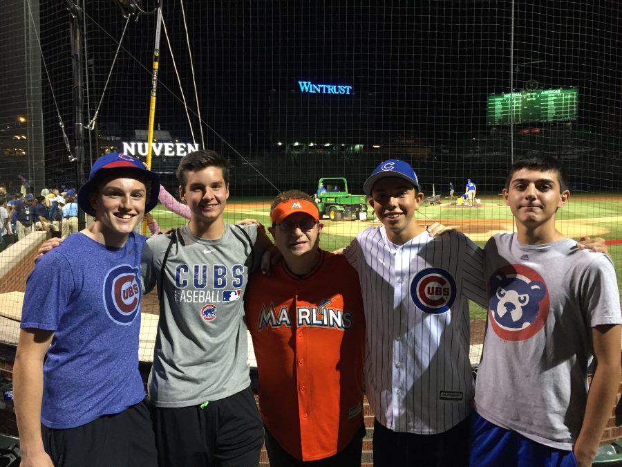 Writer+Jack+Ankony+%28center%29%2C+a+junior%2C+and+his+friends+pose+with+the+Marlins+Man+at+a+Cubs+game+at+Wrigley.