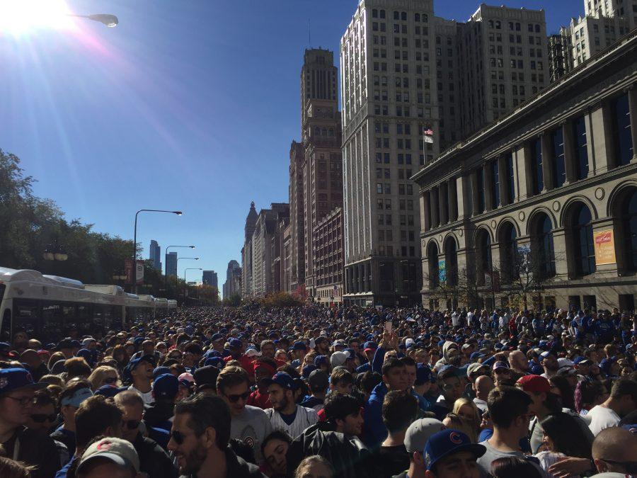 A+CENTURY+IN+THE+MAKING%3A+City+officials+estimated+that+Friday%27s+parade+celebrating+the+Cubs%27+first+World+Series+championship+since+1908+drew+around+five+million+fans.+Here+was+my+view+looking+south+on+Michigan+Avenue+around+11+a.m.%2C+an+hour+before+the+parade+would+pass+us+on+Randolph+Street+to+the+north.