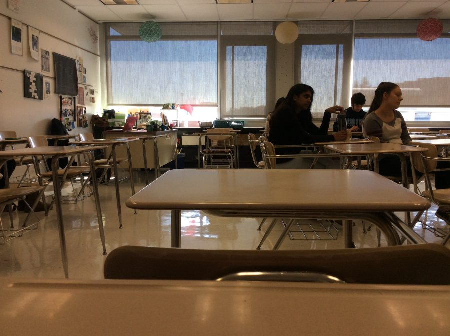 Sophomore+Kathleen+Gault+takes+this+picture+of+the+empty+desks+during+seventh+period.+Gault+was+one+of+the+five+people+in+her+Honors+World+Literature+Composition+class.+%22I+like+how+teachers+get+really+personal+with+you+when+you%27re+like+the+one+person+in+your+class%2C%22+Gault+said.