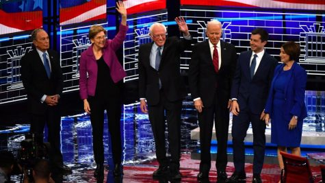 (L-R) Democratic presidential hopefuls Former New York Mayor Mike Bloomberg, Massachusetts Senator Elizabeth Warren, Vermont Senator Bernie Sanders, Former Vice President Joe Biden, Former mayor of South Bend, Indiana, Pete Buttigieg and Indiana Senator Amy Klobuchar arrive on stage for the ninth Democratic primary debate of the 2020 presidential campaign season co-hosted by NBC News, MSNBC, Noticias Telemundo and The Nevada Independent at the Paris Theater in Las Vegas, Nevada, on February 19, 2020. (Photo by Mark RALSTON / AFP) (Photo by MARK RALSTON/AFP via Getty Images)