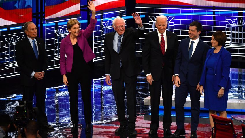 %28L-R%29+Democratic+presidential+hopefuls+Former+New+York+Mayor+Mike+Bloomberg%2C+Massachusetts+Senator+Elizabeth+Warren%2C+Vermont+Senator+Bernie+Sanders%2C+Former+Vice+President+Joe+Biden%2C+Former+mayor+of+South+Bend%2C+Indiana%2C+Pete+Buttigieg+and+Indiana+Senator+Amy+Klobuchar+arrive+on+stage+for+the+ninth+Democratic+primary+debate+of+the+2020+presidential+campaign+season+co-hosted+by+NBC+News%2C+MSNBC%2C+Noticias+Telemundo+and+The+Nevada+Independent+at+the+Paris+Theater+in+Las+Vegas%2C+Nevada%2C+on+February+19%2C+2020.+%28Photo+by+Mark+RALSTON+%2F+AFP%29+%28Photo+by+MARK+RALSTON%2FAFP+via+Getty+Images%29