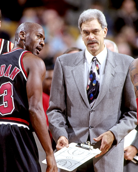 Michael Jordan and Phil Jackson pictured in 1997.